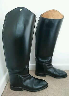 Petrie Black Leather Size 5 38 Dressage Competition Leather Riding Boots Pull On