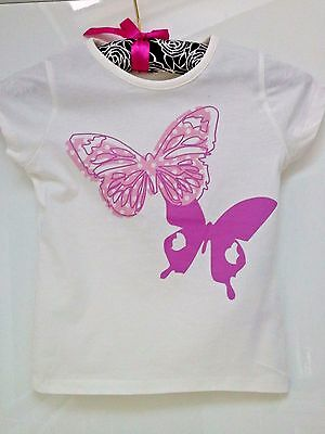 Ivory Girls cotton 'T' shirts with Pink Butterflies 12 -18 months