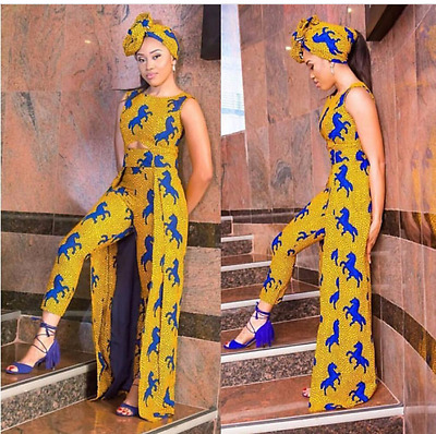 Ankara Three-Piece Top and Pants with Scarf