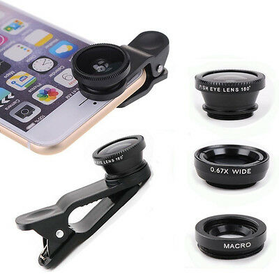Clip On Mobile Phone/Tablet Lenses - Macro, Fish Eye and Wide Included