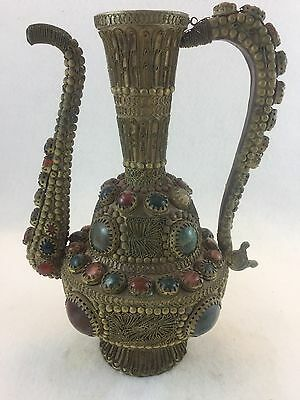 Antique Middle Eastern Jeweled Stoned Filigreed Ewer