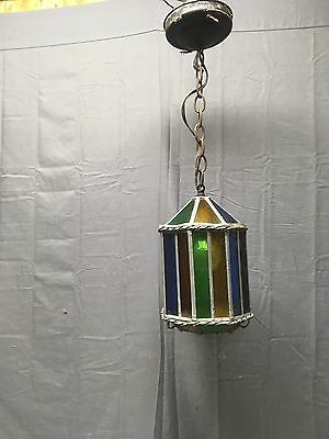 Vintage Art Crafts Stained Colored Leaded Glass Ceiling Light Fixture 379-17E