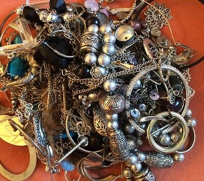Silver Tone Jewelry 1 LB LOT: Necklaces, Earrings, Etc. Craft Repurpose #41