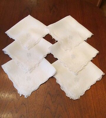 6 Antique Austrian Embroidered and Crocheted Linen Napkins Monogram GW Flowers