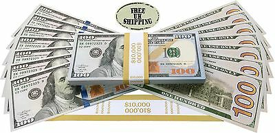 Prop Money Dollars - $10,000 Full Print New Style $100 Dollar Bills Stack
