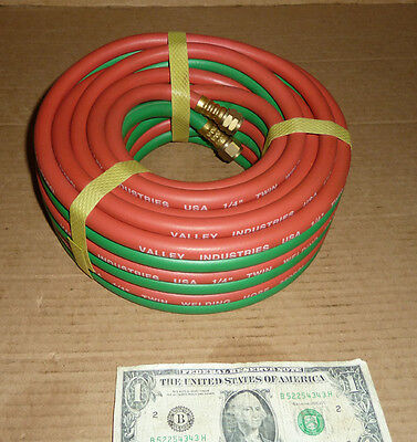 "1/4"" Valley Ind.Twin Welding Hose,250 PSI,USA,Oxygen & Acetylene Tank USA,25'"