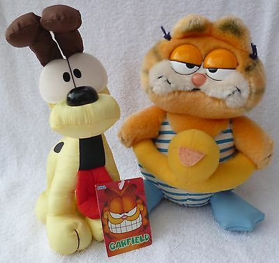 Vintage Dakin Garfield & SEGA Japan 1998 Odie the Dog Soft Plush Toys Bundle/Lot