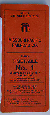 Missouri Pacific MP UP   Timetable No.1  Apr 28 1985