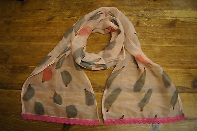 Pink with grey hedgehogs girls childrens kids light weight scarf
