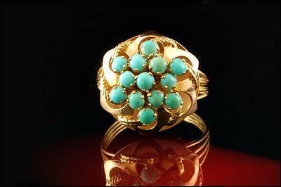 Antique Victorian 14K Gold Persian Turquoise Princess Ring