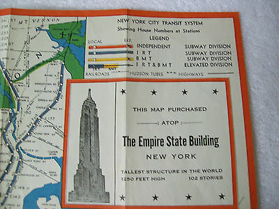 Vintage Souvenir Map Empire State Building Observatories New York Transit System