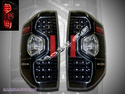 2014-2017 Toyota Tundra SR5 Pickup Truck LED Tail lights Black / Clear