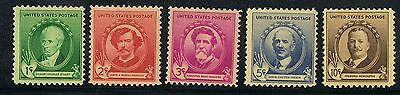 USA   884-88, MLH, Famous Americans Issues Authors 1940