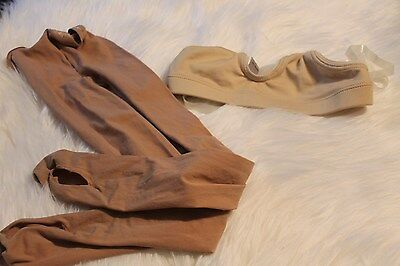 Lot of 2 Girls capezio Tights & Motion wear bra clear straps size 8-14