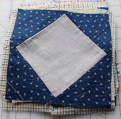 18 1910's Diamond in a Square quilt blocks, beautiful thread dyed plaids, checks