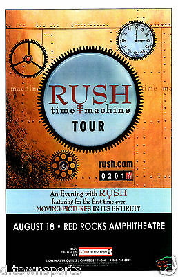 """RUSH """"Time Machine"""" Tour 2010  Red Rocks Show Flyer / Gig Poster Moving Pictures"""