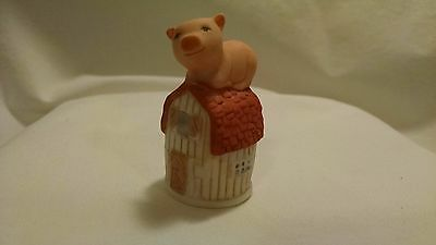 Thimble Pink Pig on Barn Figurine Bisque Porcelain