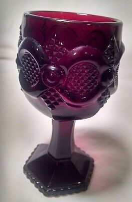 Avon 1876 Cape Cod Collection Small Wine Water Goblet Cordial Ruby Red Glass