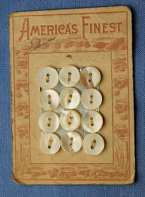 1 vintage America's Finest Mother of pearl shell button card, Lily pond graphic