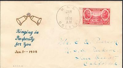 Minelayer USS OGLALA CM-4 New Year 1938 William Linto H/P Cachet Naval Cover