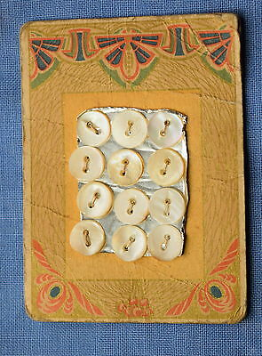 Vintage mother of pearl shell button card, pretty Persian Art Deco graphic