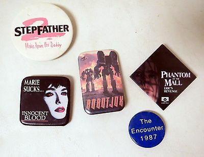 Vintage 1980s HORROR Promo button LOT (6) STEPFATHER Innocent Blood Phantom