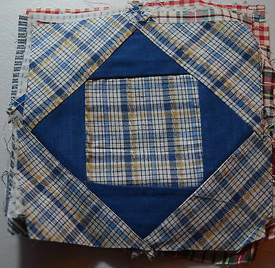 18 vintage 1910-20's quilt blocks, Diamond in a Square, Thread dyed Fabrics
