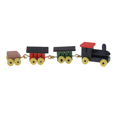 Cute 1/12 Dollhouse Miniature Painted Wooden Toy Train Set and Carriages QW
