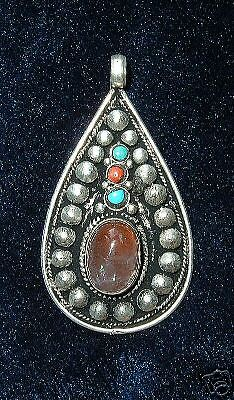 Large Teardrop Pendant with Coral & Labradorite Shimmer Stone -Handmade in Nepal