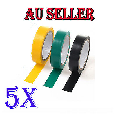 5x Home Electrical Insulation PVC Tape 17mm x 6m  Black Yellow Green AU STOCK