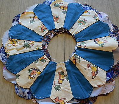 5 1940-50's Dresden Plate plates, nice florals and solids, cute Mexican print