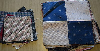 24 1890-1915ish 4 Patch quilt blocks, nice collection of prints, + extra squares