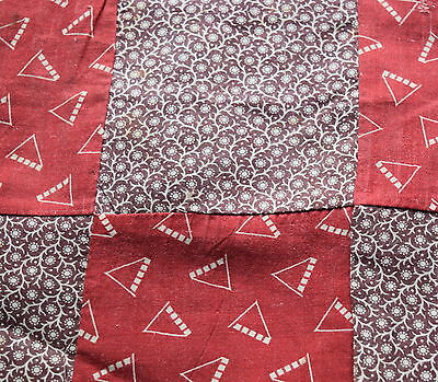 13 large 1880-90's 9 Patch quilt blocks, nice Red print and pretty brown