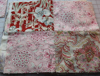 8 large 1910-1920 quilt blocks, flannel 4 Patch, beautiful fabrics