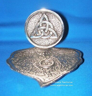 TRIQUETRA INCENSE HOLDER SILVER METAL Wicca Pagan Witch Goth
