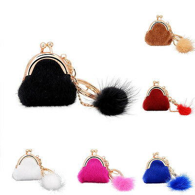 UK Faux Fur Pom Ball Mini Wallet Key Chain For Phone Car Bag Charm Accessory