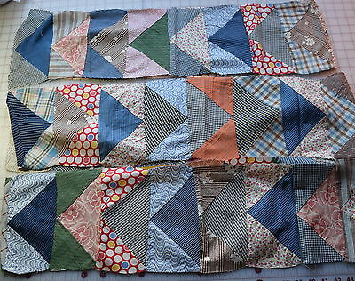 63 1900-50's Scrappy Flying Geese quilt blocks, sewn into strips