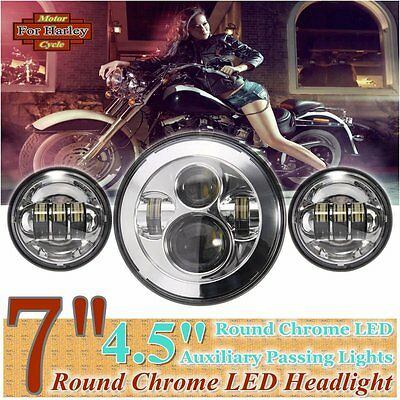 "7"" Chrome LED Projector Daymaker Headlight + 2x 4.5"" Passing Lights For Harley"
