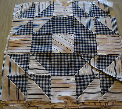 8 1900-10 quilt blocks, Large Goose in the Pond, nice shirtings!