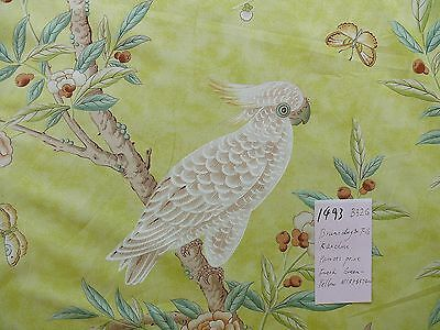 Brunschwig & Fils Kanchou Parrots Chinioserie Flower Print Green-Yellow Msrp$374