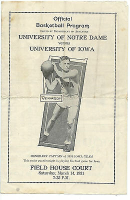 1931 U IOWA v Notre DAME BASKETBALL PROGRAM INCREDIBLY RARE 85 year old HEIRLOOM
