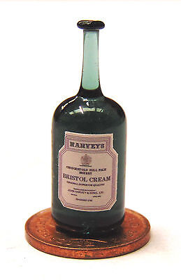 1:12 Real Glass Bottle Of Harveys Sherry Dolls House Miniature Bar Accessory