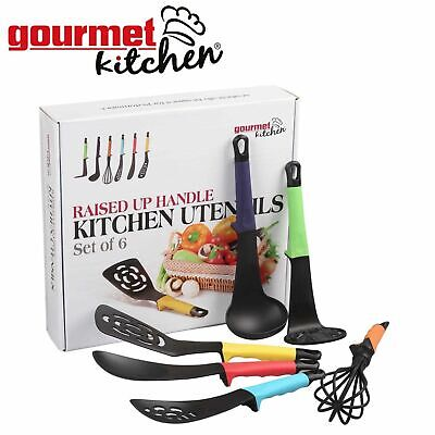 Kitchen Utensils Set 6 Piece Multi Coloured Raised Handles Home Cooking Tools