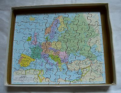 Victory Vintage Geographical Wooden Jigsaw Puzzle Europe 1950's COMPLETE VGC