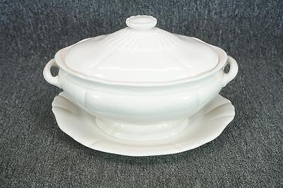 Vintage White Porcelain Soup Tureen With Underplate And Lid