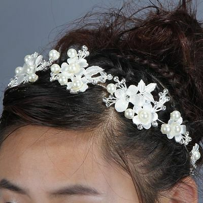 Bridal wedding Head Piece Hair Accessories Bling Pearl Diamontes Womens Bride