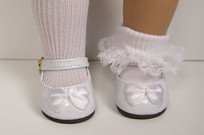 """WHITE Patent Mary Jane  Buckle Doll Shoes w/Bow For 18"""" American Girl (Debs)"""