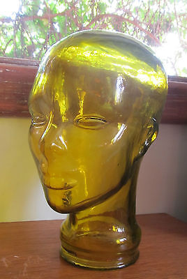 SHOP DISPLAY, YELLOW GLASS HEAD - Vintage, Mannequin, amber