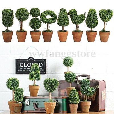 Plastic Garden Grass Ball Topiary Tree Pot Dried Green Plant for Wedding Party