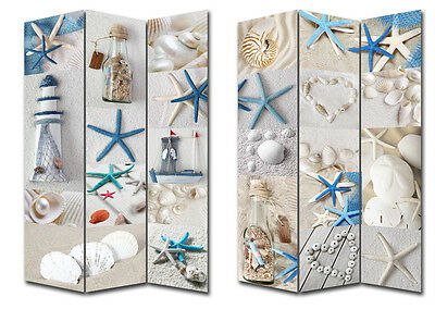 Beach Theme Canvas Room Divider 3 panels home decor Fold Screen Stand Privacy